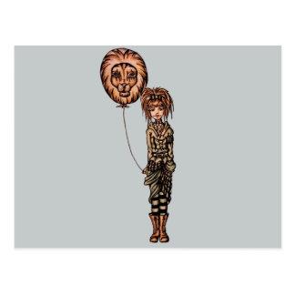 Cute Punk Cartoon of Girl Holding Lion Balloon Post Card