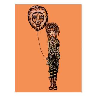 Cute Punk Cartoon of Girl Holding Lion Balloon Post Cards