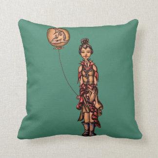 Cute Punk Cartoon of Girl Holding Shark Balloon Cushions