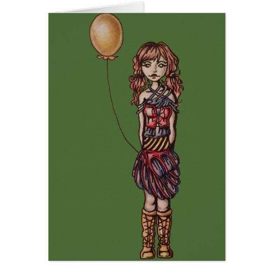 Cute Punk Cartoon of Girl Holding Yellow Balloon
