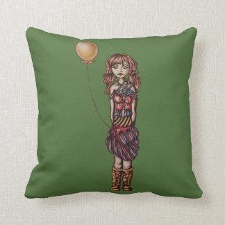 Cute Punk Cartoon of Girl Holding Yellow Balloon Cushions