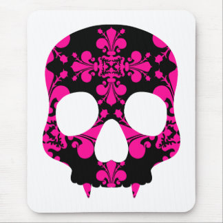 Cute punk goth fanged skull hot pink and black mouse mat