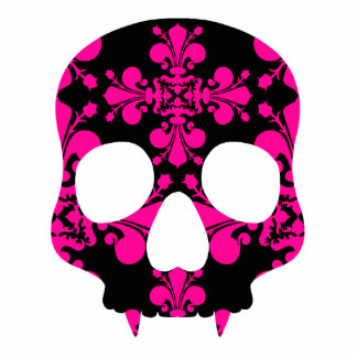 Cute punk goth fanged skull hot pink and black photo sculpture magnet