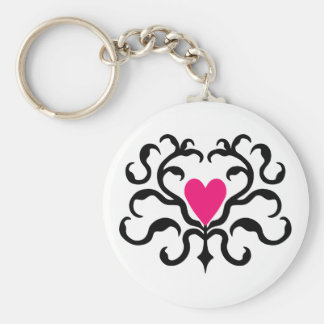 Cute punk goth hot pink heart damask basic round button key ring