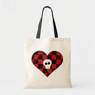 Cute punk goth skull in red checkered heart budget tote bag