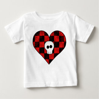 Cute punk goth skull in red checkered heart tees