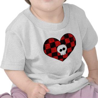 Cute punk goth skull in red checkered heart t shirt