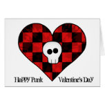 Cute punk goth skull in red chequered heart