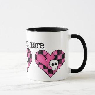 Cute punk hot pink and black heart and skull mug