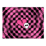 Cute punk hot pink and black heart and skull postcard