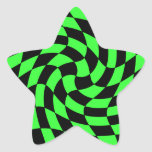 Cute punk neon green and black star star sticker