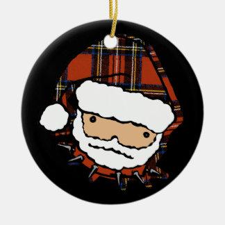 Cute Punk Plaid Santa Christmas Ornament