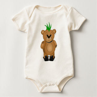 Cute Punk Rock Teddy Bear Cartoon Animal Baby Bodysuit