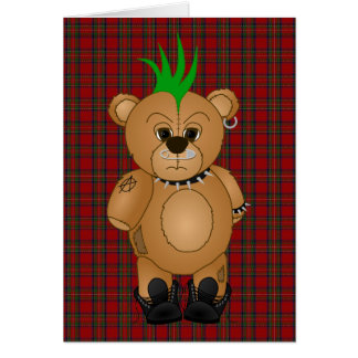 Cute Punk Rock Teddy Bear Cartoon Animal Card