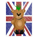 Cute Punk Rock Teddy Bear Cartoon Animal Postcard