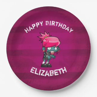 Cute Punk Rock Zombie Girl Happy Birthday Paper Plate