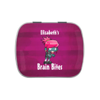 Cute Punk Rock Zombie Girl Illustration Candy Tin