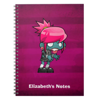 Cute Punk Rock Zombie Girl Illustration Notebook