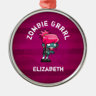 Cute Punk Rock Zombie Grrrl Personalized Christmas Ornament