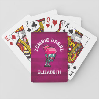 Cute Punk Rock Zombie Grrrl Personalized Playing Cards