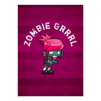 Cute Punk Rock Zombie Grrrl Poster
