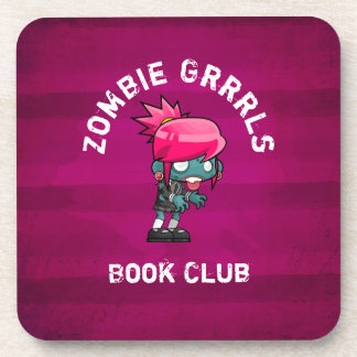 Cute Punk Rock Zombie Grrrls Book Club Coaster