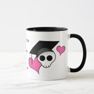 Cute punk skull graduation mug