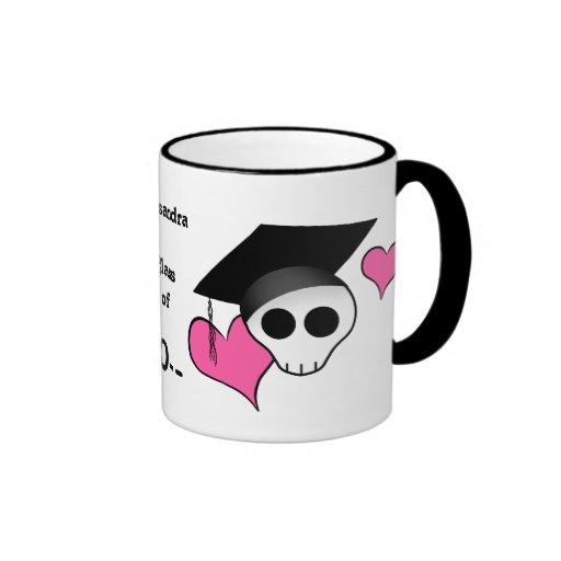 Cute punk skull graduation coffee mug