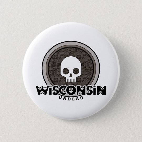Cute Punk Skull Wisconsin Button
