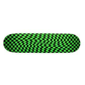 Cute punk wavy squares neon green and black skateboard