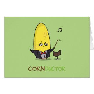Cute Punny Cartoon Corn Conductor Card