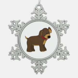 Cute Pup with Bow Snowflake Ornament