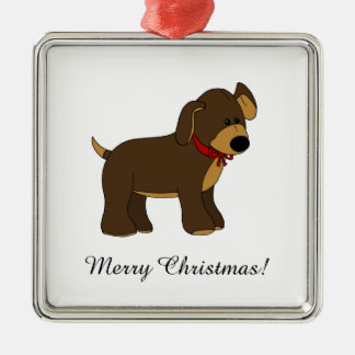 Cute Pup with Bow Square Ornament