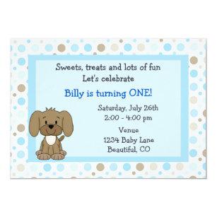Cute Puppy 1st Birthday Invitation For Boys