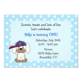 Cute Puppy 1st Birthday Invitation for Boys