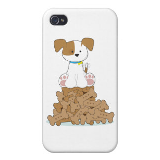 Cute Puppy and Bones Case For iPhone 4
