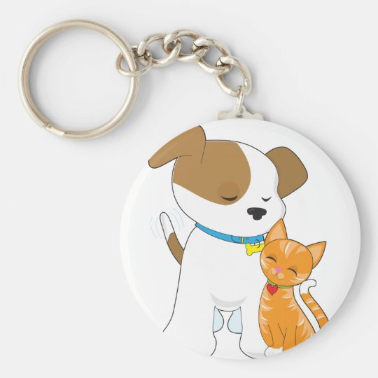 Cute Puppy and Cat Basic Round Button Key Ring