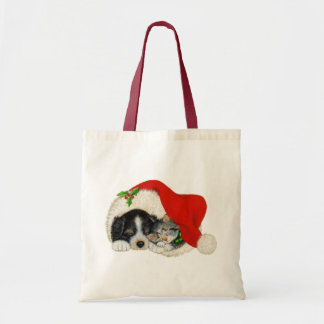 Cute Puppy And Kitten Sleep In A Santa Hat Budget Tote Bag