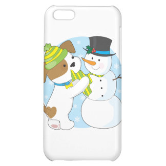 Cute Puppy and Snowman iPhone 5C Cases
