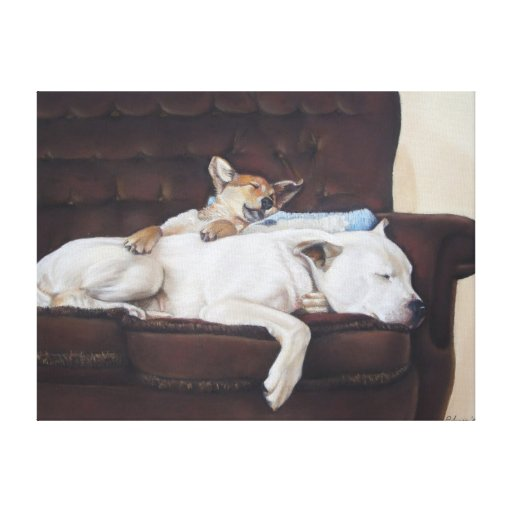 Cute puppy and white bull dog realist art canvas canvas print