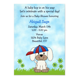 Cute puppy invitations announcements zazzle cute puppy baby shower invitation for boys filmwisefo Image collections