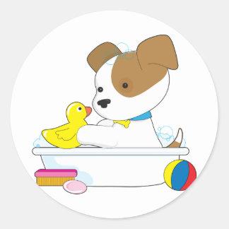 Cute Puppy Bath Classic Round Sticker