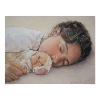 cute puppy beagle and child realist art poster