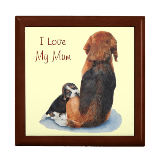 Cute puppy beagle and mom dog realist art large square gift box