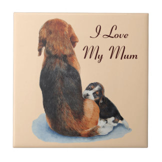 cute puppy beagle and mum dog art tile