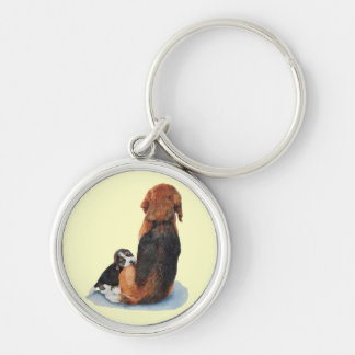 Cute puppy beagle and mum dog realist art keychain