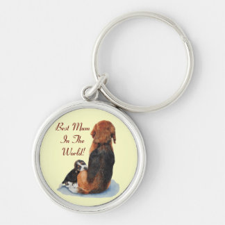 Cute puppy beagle and mum dog realist art keychain