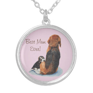 cute puppy beagle and mum dog realist art round pendant necklace