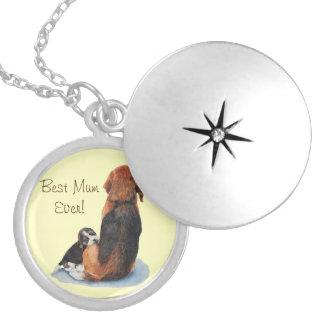 cute puppy beagle and mum dog realist art round locket necklace