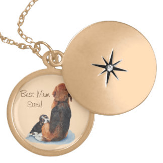 cute puppy beagle and mum dog realist art round locket necklace
